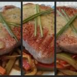 Fast food 15'… lomos de atún a la plancha con verduras salteadas