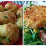 Fast Food 20'… albóndigas y hamburguesas de patata con verduras.